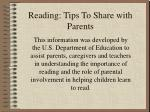 reading tips to share with parents