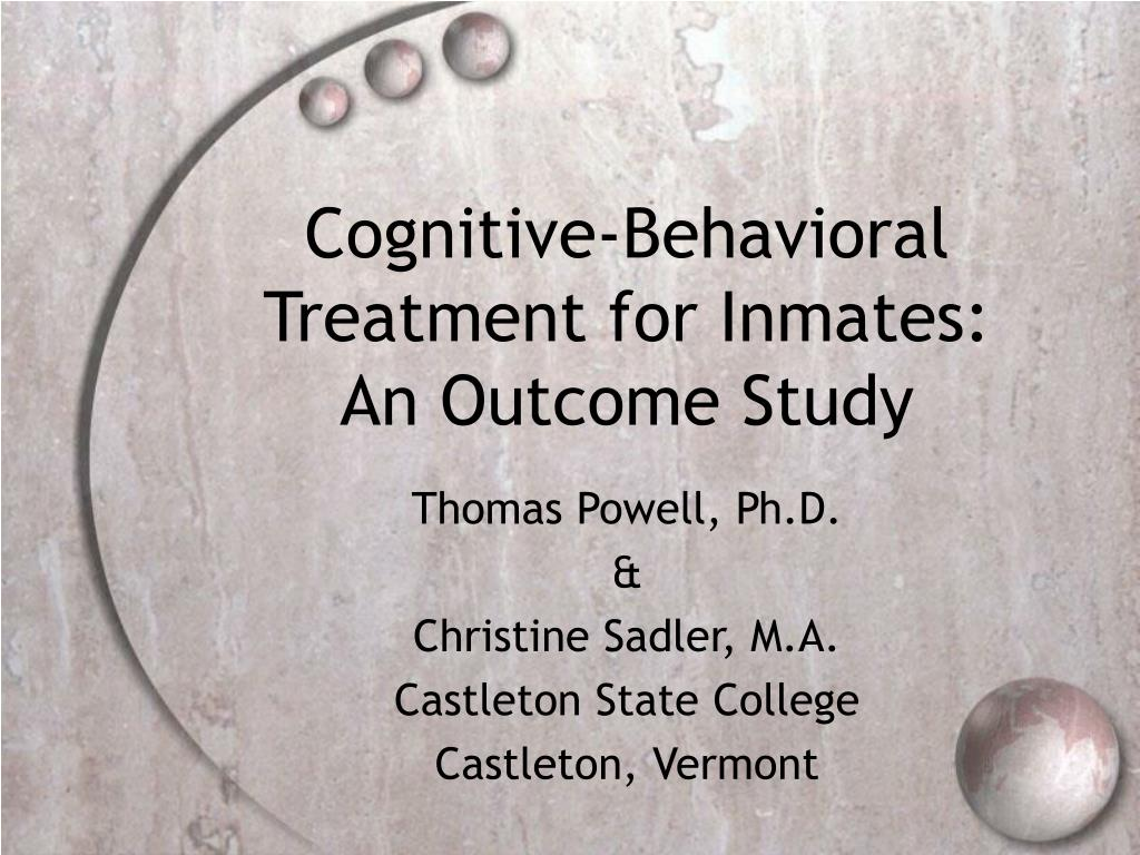 cognitive behavioral treatment for inmates an outcome study l.