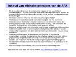 inhoud van ethische principes van de apa