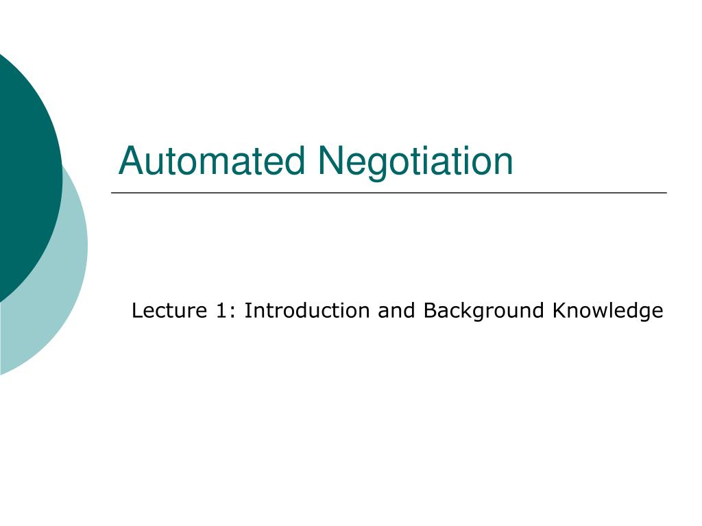 automated negotiation l.