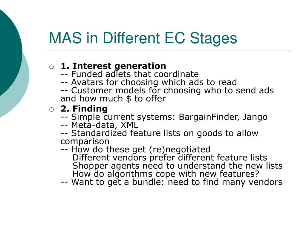 MAS in Different EC Stages