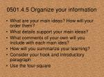 0501 4 5 organize your information