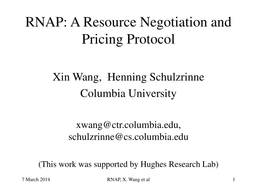 rnap a resource negotiation and pricing protocol l.