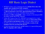 rif basic logic dialect