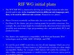 rif wg initial plans