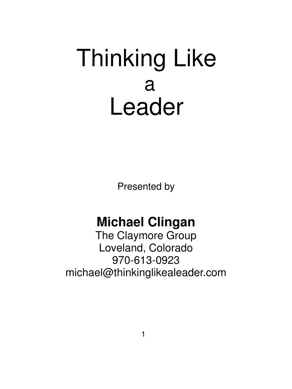thinking like a leader l.