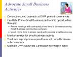 advocate small business activities