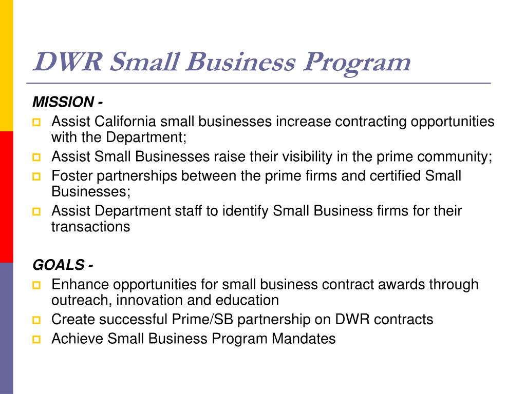 DWR Small Business Program