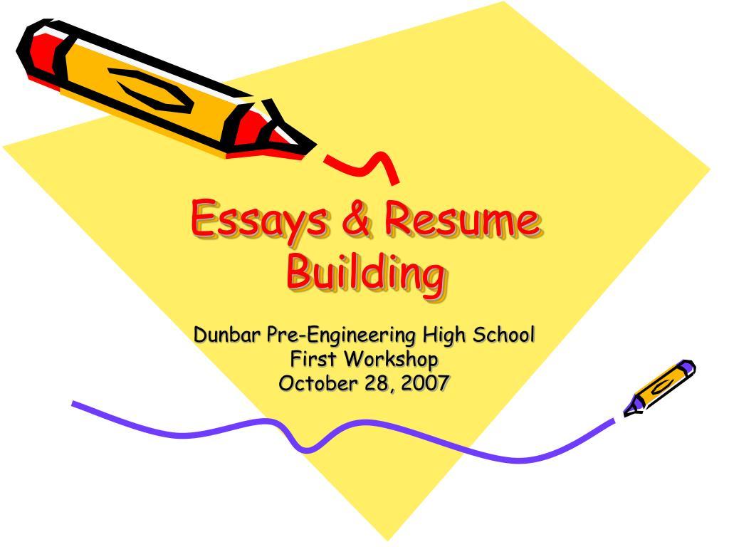 essays resume building l.