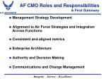 af cmo roles and responsibilities a first summary