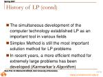 history of lp contd