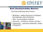 brief checklists aides memoire