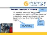 example analysis of incident