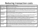 reducing transaction costs