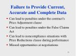 failure to provide current accurate and complete data