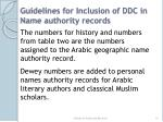 guidelines for inclusion of ddc in name authority records
