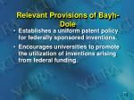 relevant provisions of bayh dole
