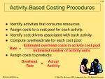 activity based costing procedures