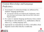 content knowledge and language proficiency