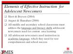 elements of effective instruction for adolescent newcomers