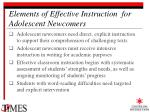 elements of effective instruction for adolescent newcomers25