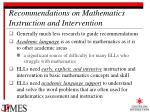 recommendations on mathematics instruction and intervention