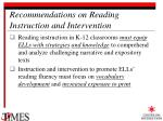 recommendations on reading instruction and intervention20