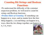 counting bit strings and boolean functions