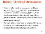 results threshold optimization