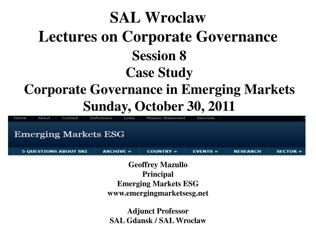 sal wroclaw lectures on corporate governance l.
