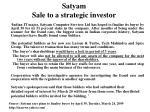 satyam sale to a strategic investor
