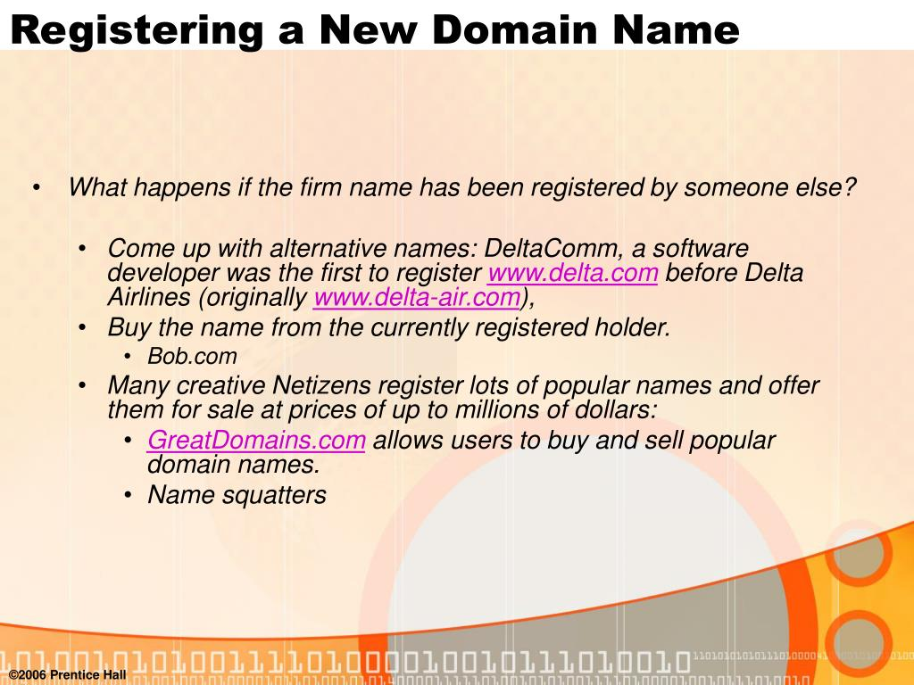 Registering a New Domain Name