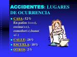 accidentes lugares de ocurrencia