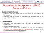 requisitos de inscripci n en el ruc personas f sicas105