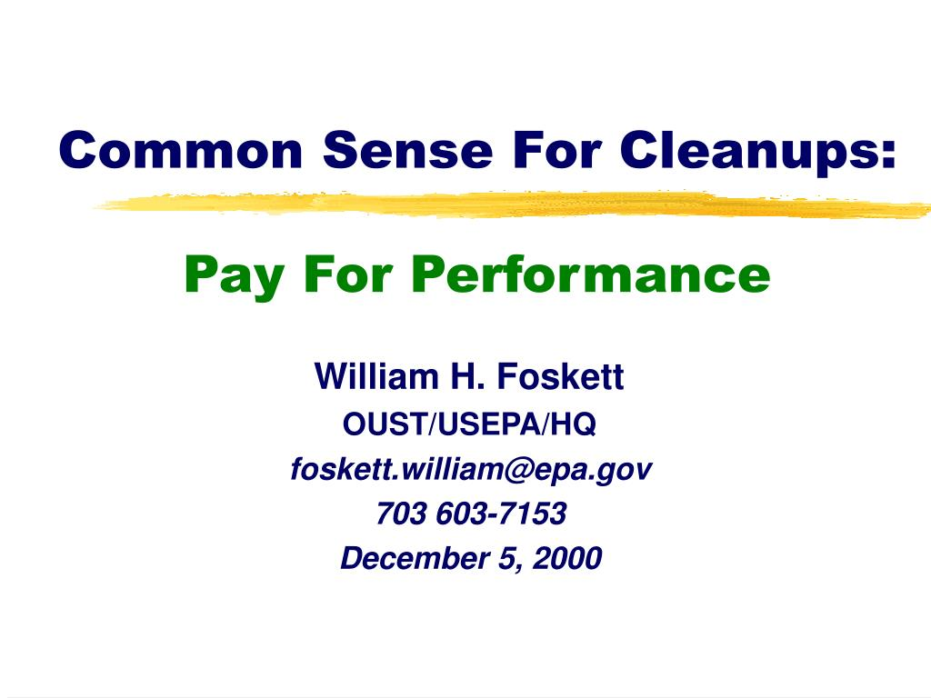 common sense for cleanups pay for performance l.