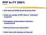 pfp in fy 2001 stop here bill