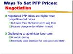 ways to set pfp prices negotiation