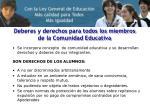 deberes y derechos para todos los miembros de la comunidad educativa