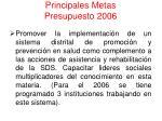 principales metas presupuesto 200638