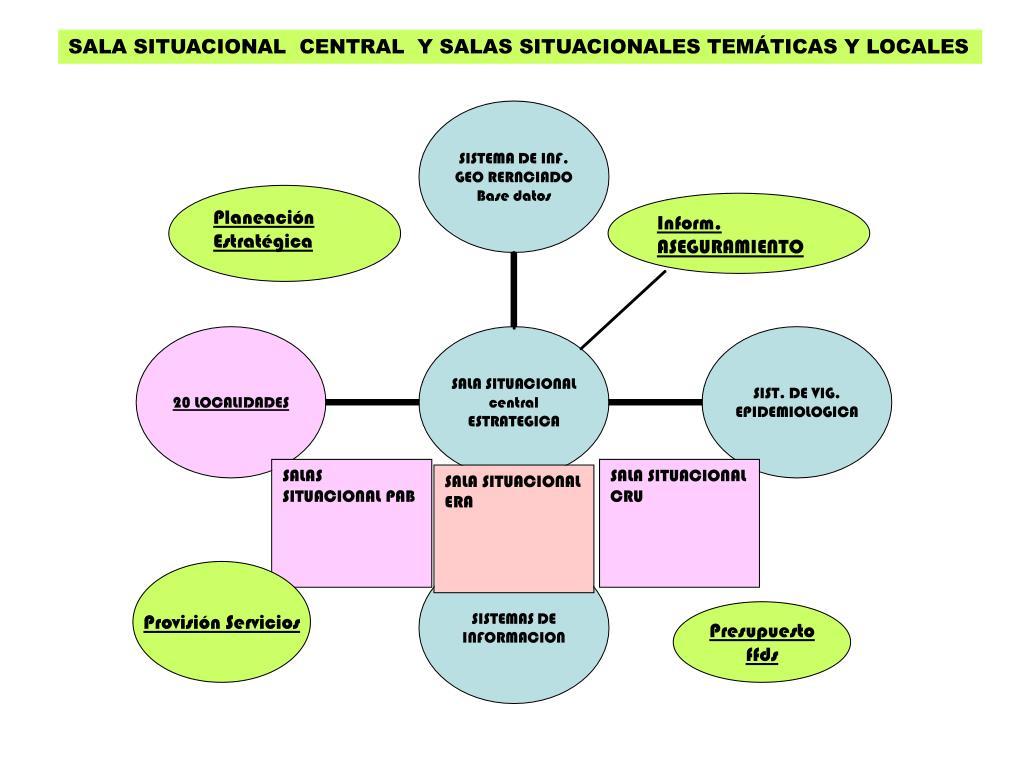 SALA SITUACIONAL  CENTRAL  Y SALAS SITUACIONALES TEMÁTICAS Y LOCALES