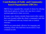 contributions of faith and community based organizations fbcos