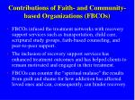 contributions of faith and community based organizations fbcos70