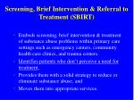 screening brief intervention referral to treatment sbirt