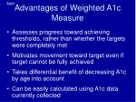 advantages of weighted a1c measure