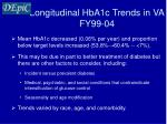 longitudinal hba1c trends in va fy99 04