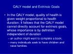 qaly model and extrinsic goals