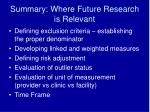summary where future research is relevant