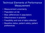 technical elements of performance measurement