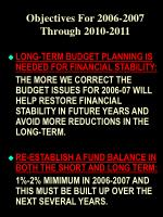 objectives for 2006 2007 through 2010 2011