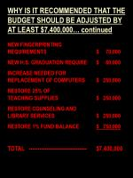 why is it recommended that the budget should be adjusted by at least 7 400 000 continued